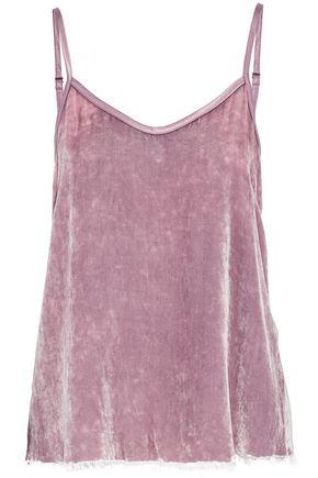 RTA Lilan frayed crushed-velvet camisole