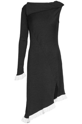 W118 by WALTER BAKER Asymmetric ruffle-trimmed two-tone ribbed-knit dress