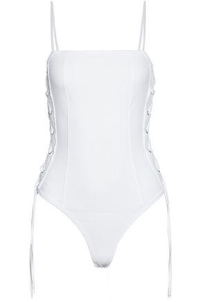 RTA Frayed lace-up cotton-jersey bodysuit
