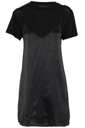 RTA Winona layered silk-satin and cotton-blend jersey mini dress