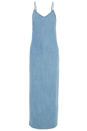 RTA Frayed cotton-chambray maxi dress