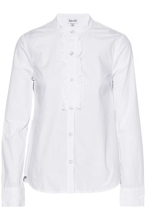 SPLENDID Ruffle-trimmed cotton-poplin blouse