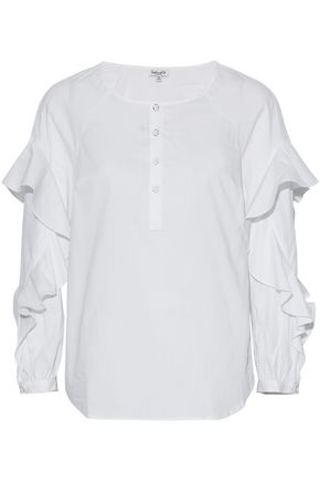 SPLENDID Ruffled stretch-cotton poplin blouse