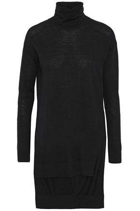 SPLENDID Asymmetric stretch-jersey turtleneck top
