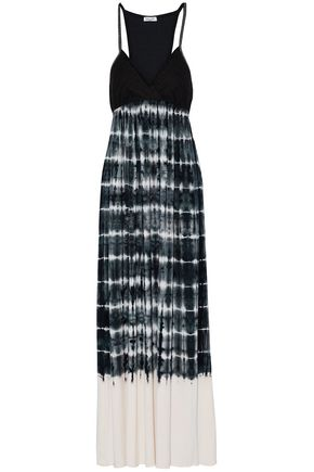 SPLENDID Crochet-paneled tie-dye voile maxi dress