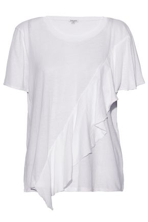 SPLENDID Ruffled cotton-jersey T-shirt