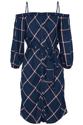 SPLENDID Cold-shoulder belted checked twill dress