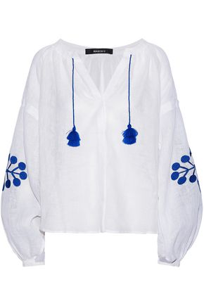 MARCH11 Tasseled embroidered linen-gauze top
