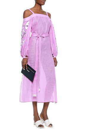 MARCH11 Cold-shoulder belted embroidered linen midi dress