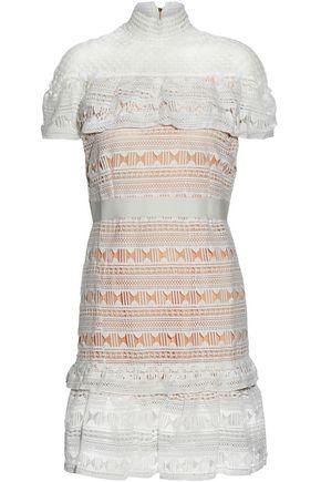 RAOUL Ruffled layered guipure lace and mesh mini dress