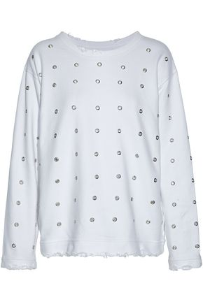 RTA Eyelet-embellished distressed cotton-terry sweatshirt