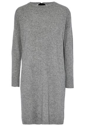 CHINTI AND PARKER Cutout velvet-trimmed mélange wool and cashmere-blend mini dress