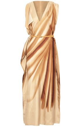 JIL SANDER Belted draped printed silk maxi dress