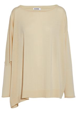 JIL SANDER Draped cutout wool sweater