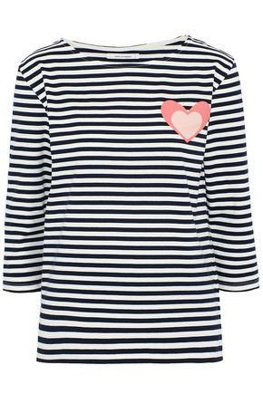 CHINTI AND PARKER Appliquéd striped cotton-jersey top