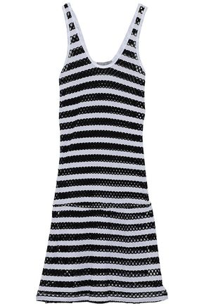 TART COLLECTIONS Striped crochet-knit and cotton-blend jersey coverup