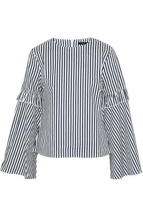 W118 by WALTER BAKER Ruffle-trimmed striped cotton-poplin top