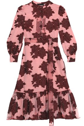 CO Floral-print devore-velvet wool-blend dress