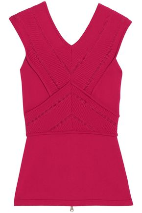 ANTONIO BERARDI Pointelle-trimmed stretch-knit top