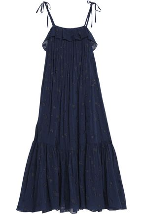 CO Ruffled silk-blend fil coupe maxi dress
