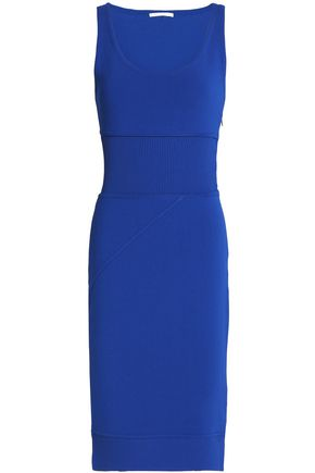ANTONIO BERARDI Ribbed knit-paneled stretch-knit dress