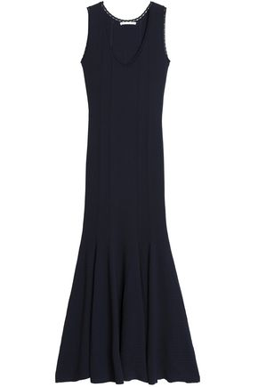 ANTONIO BERARDI Crocheted-trimmed stretch-knit flared gown