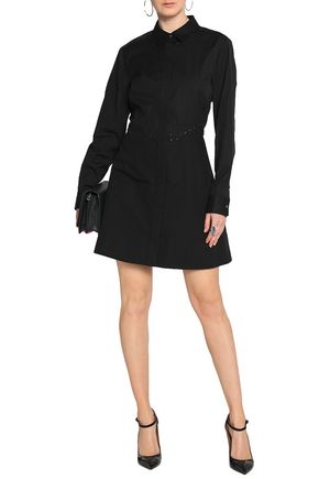 ALEXANDER WANG Lace-up cotton mini shirt dress