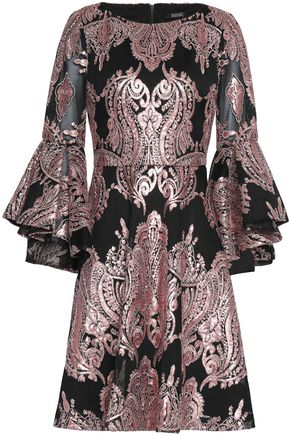 BADGLEY MISCHKA Ruffled embellished chiffon jacquard mini dress