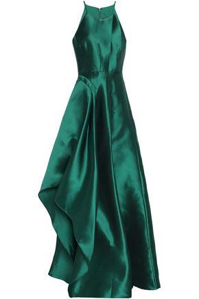 BADGLEY MISCHKA Pleated satin-twill halterneck gown