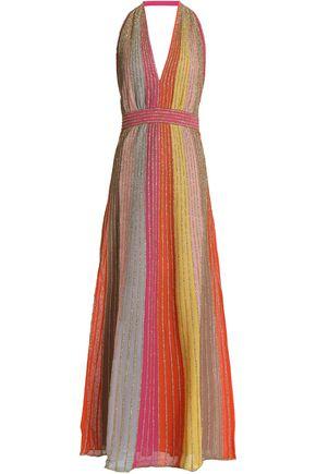 M MISSONI Metllic-detailed striped chiffon halterneck maxi dress