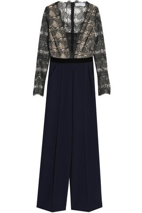 PERSEVERANCE Velvet-trimmed scalloped lace and flannel jumpsuit