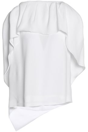 WOMAN CAPE-EFFECT RUFFLED CREPE BLOUSE WHITE