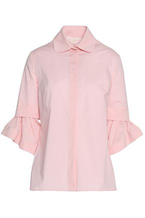ANTONIO BERARDI Layered cotton-blend poplin shirt