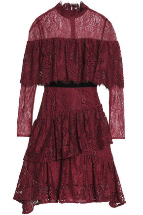 PERSEVERANCE Cape-effect tiered velvet-trimmed lace dress
