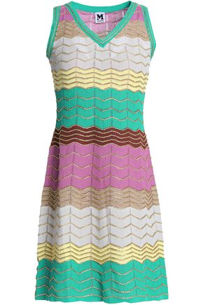 M MISSONI Metallic crochet-knit cotton-blend mini dress