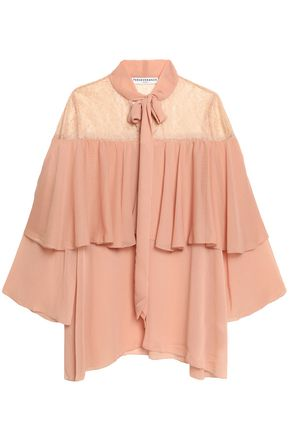 PERSEVERANCE Cape-effect pussy-bow lace and crepon blouse