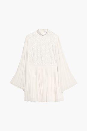 PERSEVERANCE Floral-appliquéd embroidered pleated crepe de chine mini dress