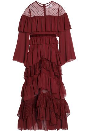PERSEVERANCE Point d'esprit-paneled tiered crepon and lace gown