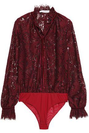 PERSEVERANCE Velvet-trimmed tasseled Chantilly lace bodysuit
