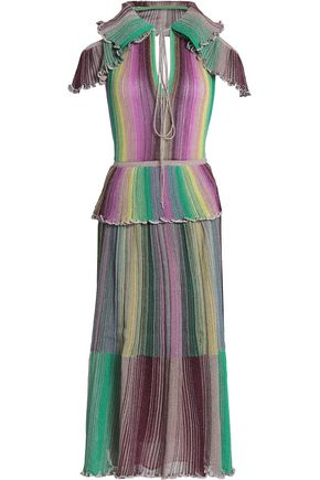 M MISSONI Ruffled metallic ribbed-knit midi dress
