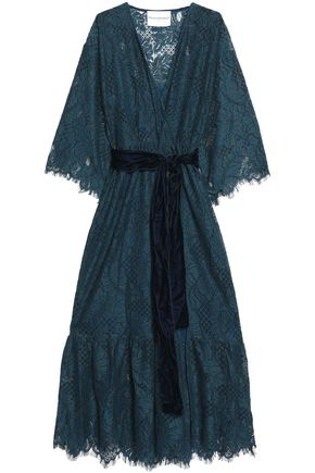 PERSEVERANCE Velvet-trimmed Chantilly lace wrap dress