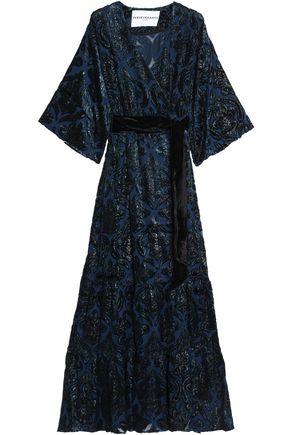 PERSEVERANCE Metallic devoré-velvet wrap maxi dress