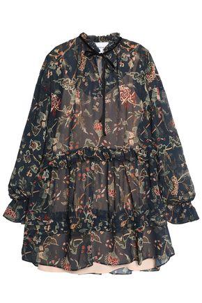 PERSEVERANCE Tie-front ruffled floral-print chiffon mini dress
