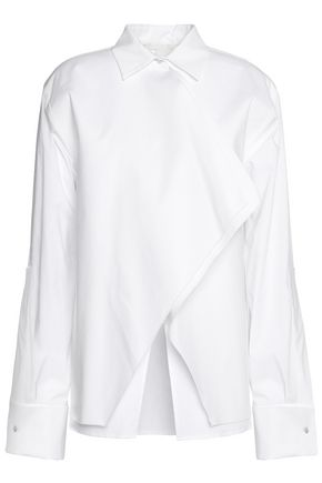 ANTONIO BERARDI Layered stretch cotton-blend poplin shirt