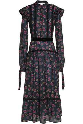 PERSEVERANCE Velvet-trimmed pleated printed crepe midi dress