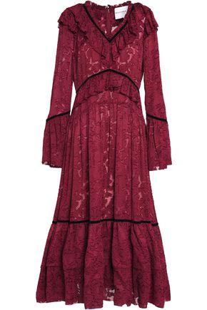 PERSEVERANCE Ruffled devoré velvet-trimmed knitted midi dress