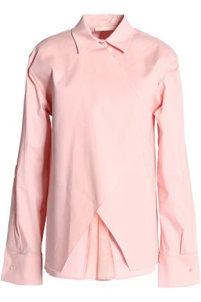 ANTONIO BERARDI Layered stretch cotton-blend poplin shirt
