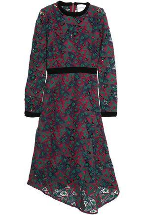 PERSEVERANCE Velvet-trimmed macramé lace dress