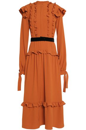 PERSEVERANCE Ruffle-trimmed belted crepe midi dress