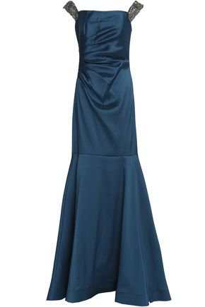 BADGLEY MISCHKA Bead-embellished gathered satin-faille gown